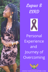 """Netert Aset with pic caption """"Lupus & ESRD: Personal Experience and Journey of Overcoming"""" on indigo background with purple ribbon."""