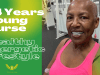 """Image of Queen Amen at the gym with caption: """"74 Yrs Young Nurse: Healthy Energetic Lifestyle"""""""
