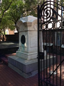 photo of Poe's monument in Westminster Cemetery