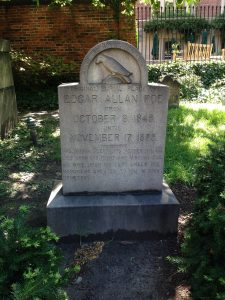 photo of Poe's headstone in Westminster Cemetery