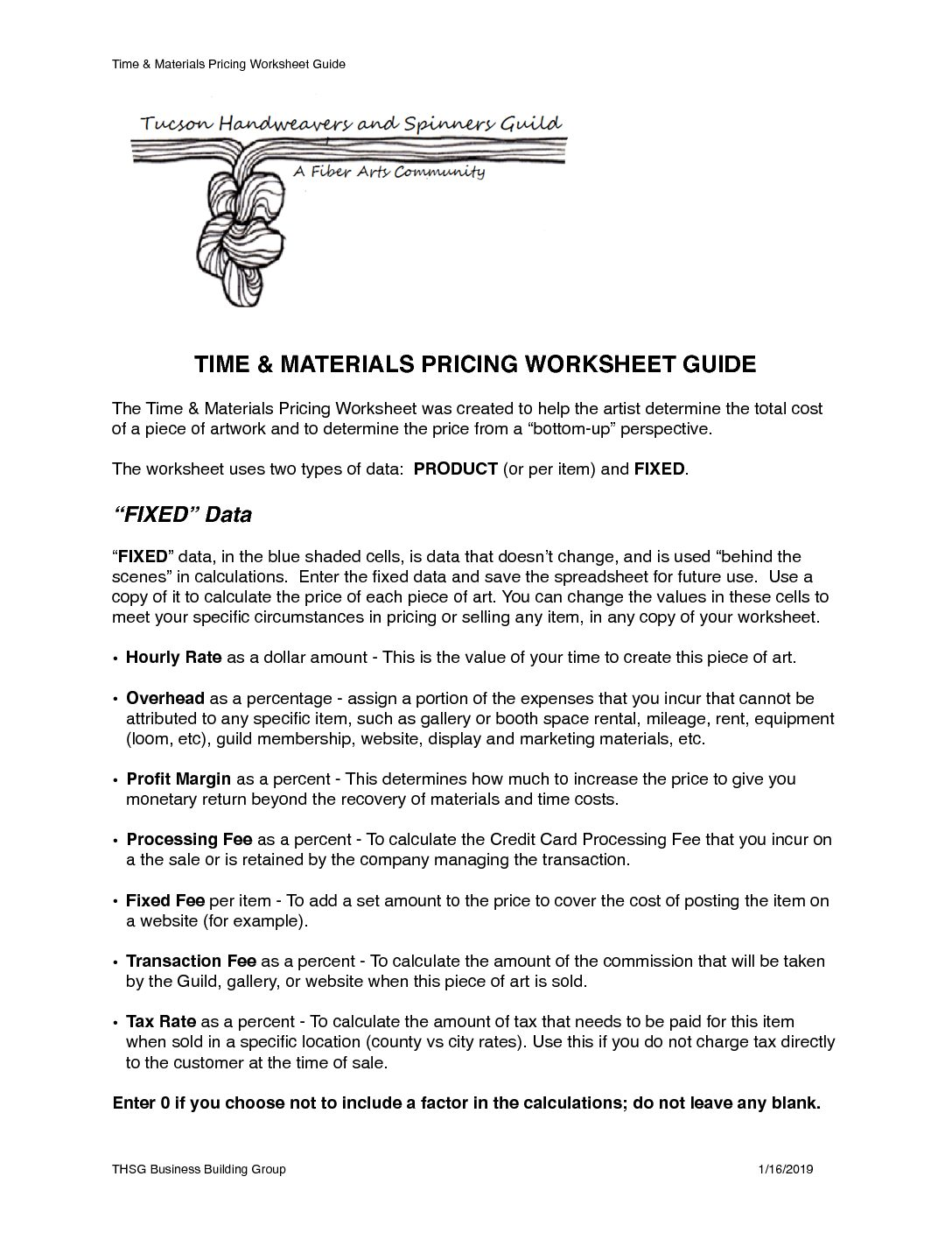 Time Amp Materials Pricing Worksheet Guide