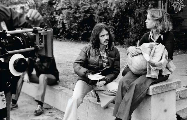 John Carpenter and Jamie Lee Curtis behind the scenes of Halloween (1978)