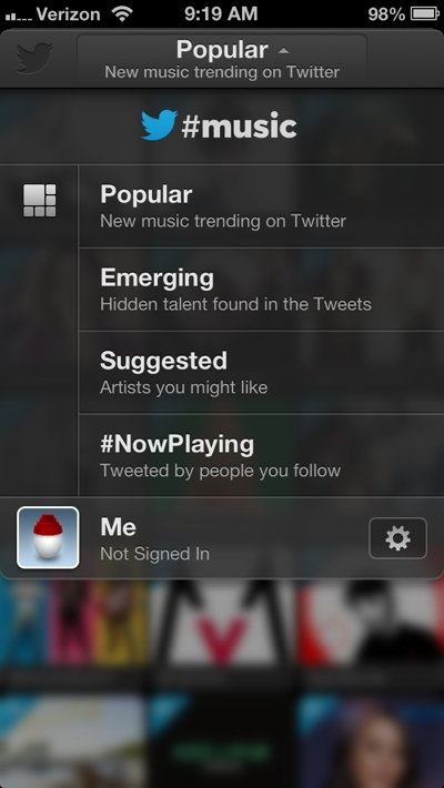 after-you-log-in-with-spotify-or-rdio-you-should-connect-twitter-music-to-your-twitter-account-tap-the-top-bar-to-see-the-drop-down-menu-then-tap-the-me-tab