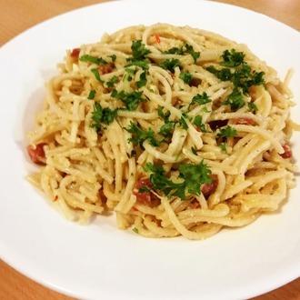Romige spaghetti carbonara