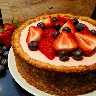 Gezonde aardbeien kwarktaart