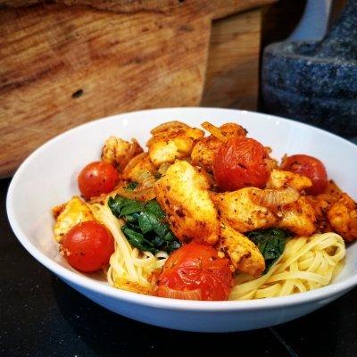 Spaghetti met spinazie en pangasius