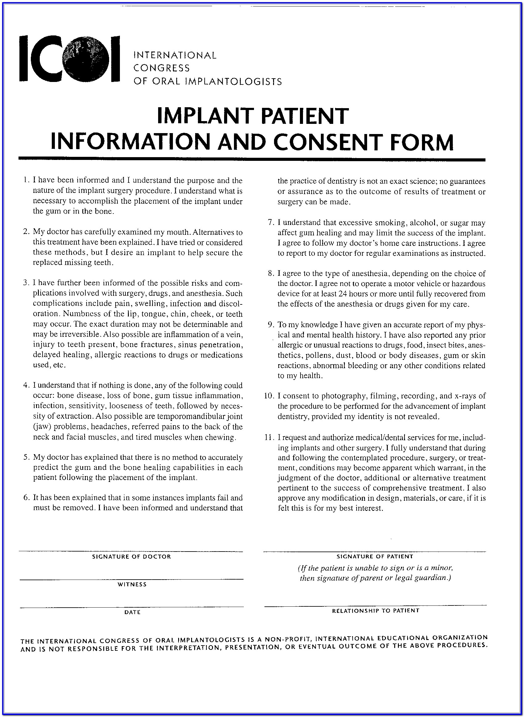 Dental Implant Crown Consent Form