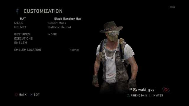 Customisation of your character in the last of us mp