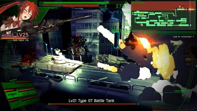 Dead or School. Hisako battles a tank.