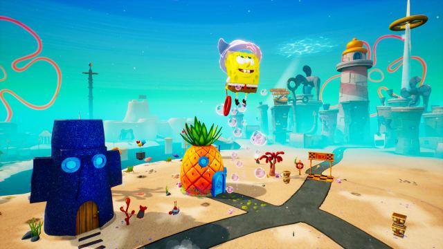 SpongeBob SquarePants: The Battle for Bikini Bottom - Re-hydrated. SpongeBob jumps.
