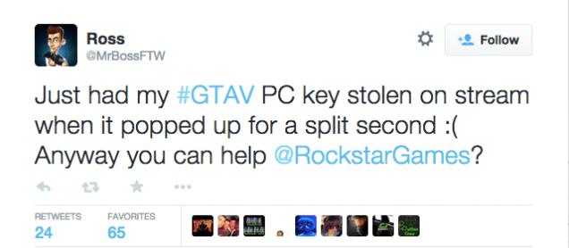 Mr Boss's GTA V key was stolen