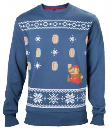 Best gaming Christmas Jumpers – Super Mario Blue