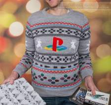 Best gaming Christmas Jumpers – grey PlayStation 01