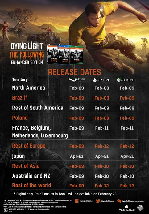 dying light: the following - enhanced edition release dates