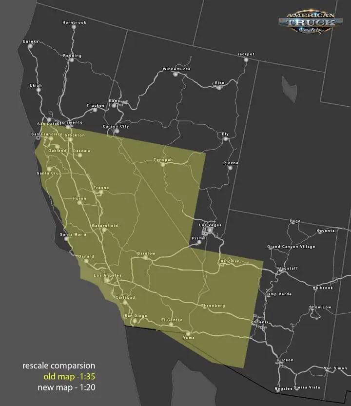 American Truck Simulator map rescale