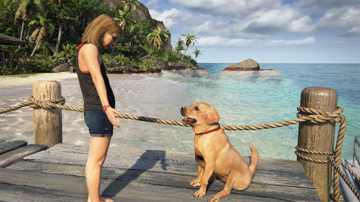Uncharted 4 photo mode - girl and dog