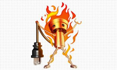 Chibi-Robo on fire