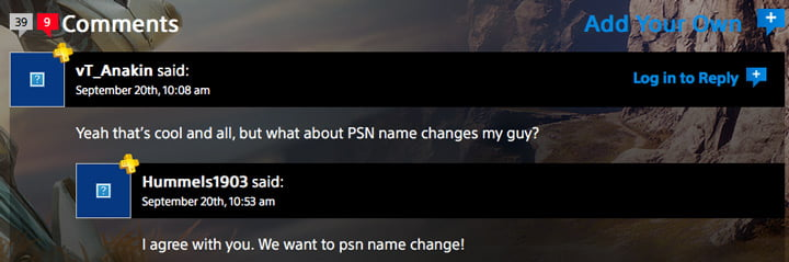 PSN name change