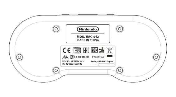 Nintendo HAC-042 SNES controller drawing