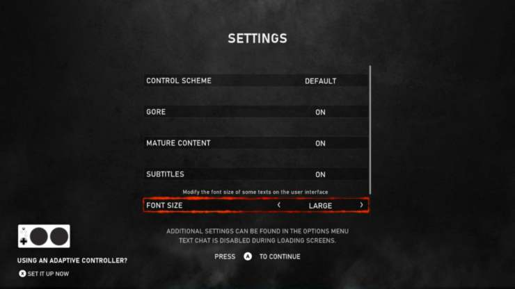 Gears 5 accessibility defaults