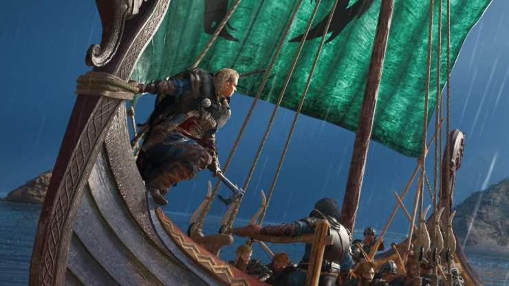 Assassin's Creed Valhalla screenshot female protagonist boat closeup