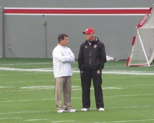 CJJ with NC State Coach in pre-game warm-ups