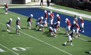 Trey Fetner leading the Blue Team to a score just before halftime of the 2013 Spring Game.