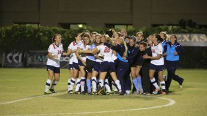 The South Alabama women's soccer team celebrate an overtime shootout win in the semifinal match against Arkansas State in San Marcos Texas. They advance to the Championship Match on Sunday, November 10 at 1pm.  |  sunbeltsports.org