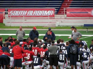 South Alabama Head Coach Joey Jones talking to his team after their scrimmage at Ladd-Peebles Stadium on Saturday, August 17, 2013.