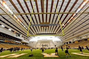 A view inside the Kibbie Dome from the end zone. It shows the hanging field goal posts. Photo: boards.sportslogos.net