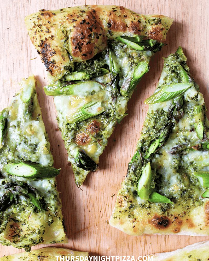 Asparagus Pizza with Parsley-Chive Pesto