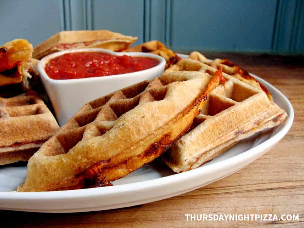 Pizza Waffles with Marinara Dipping Sauce
