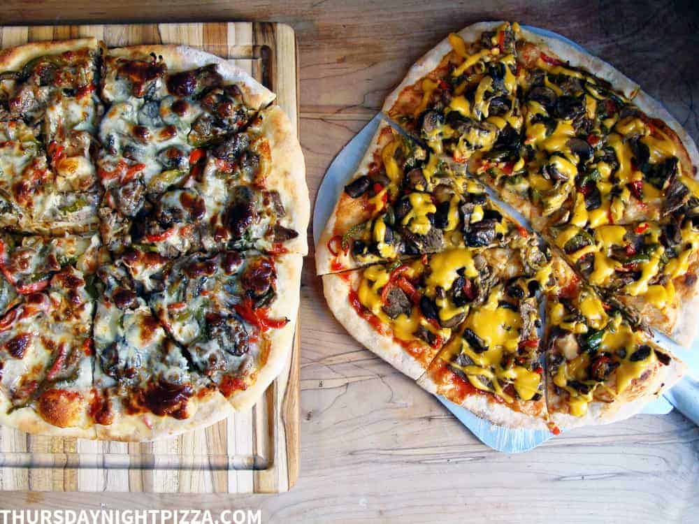 Cheese Steak Pizza, two ways