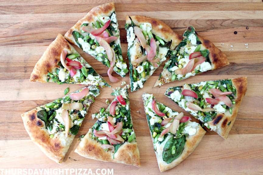 Asparagus and Pickled Rhubarb Pizza