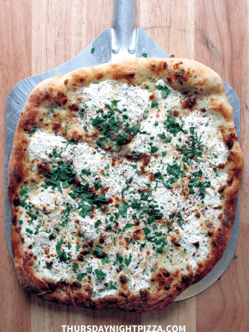 Three-Cheese White Pizza, finished