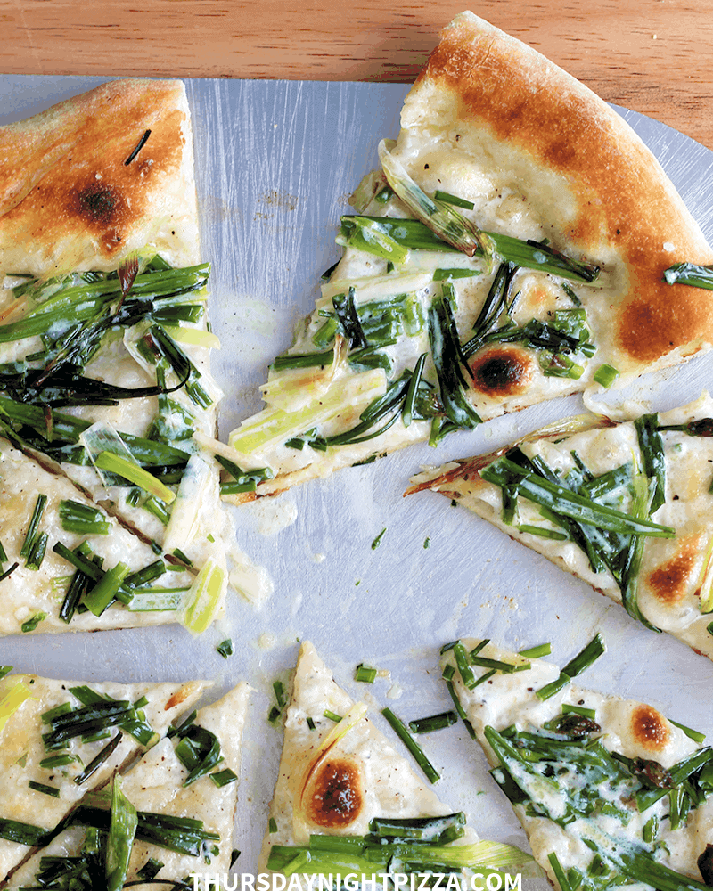 Spring Allium Pizza (with chives, spring onions, and cream)