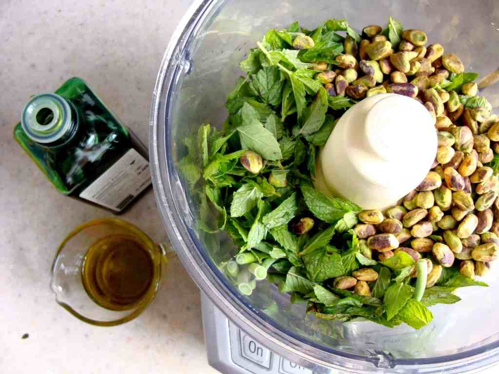 garlic scape pesto in food processor