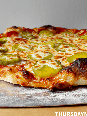 Pepperoni and Sweet Pickle Pizza