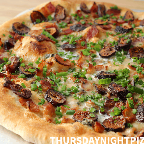 Fig and Bacon Pizza with Blue Cheese, Cream, and Chives