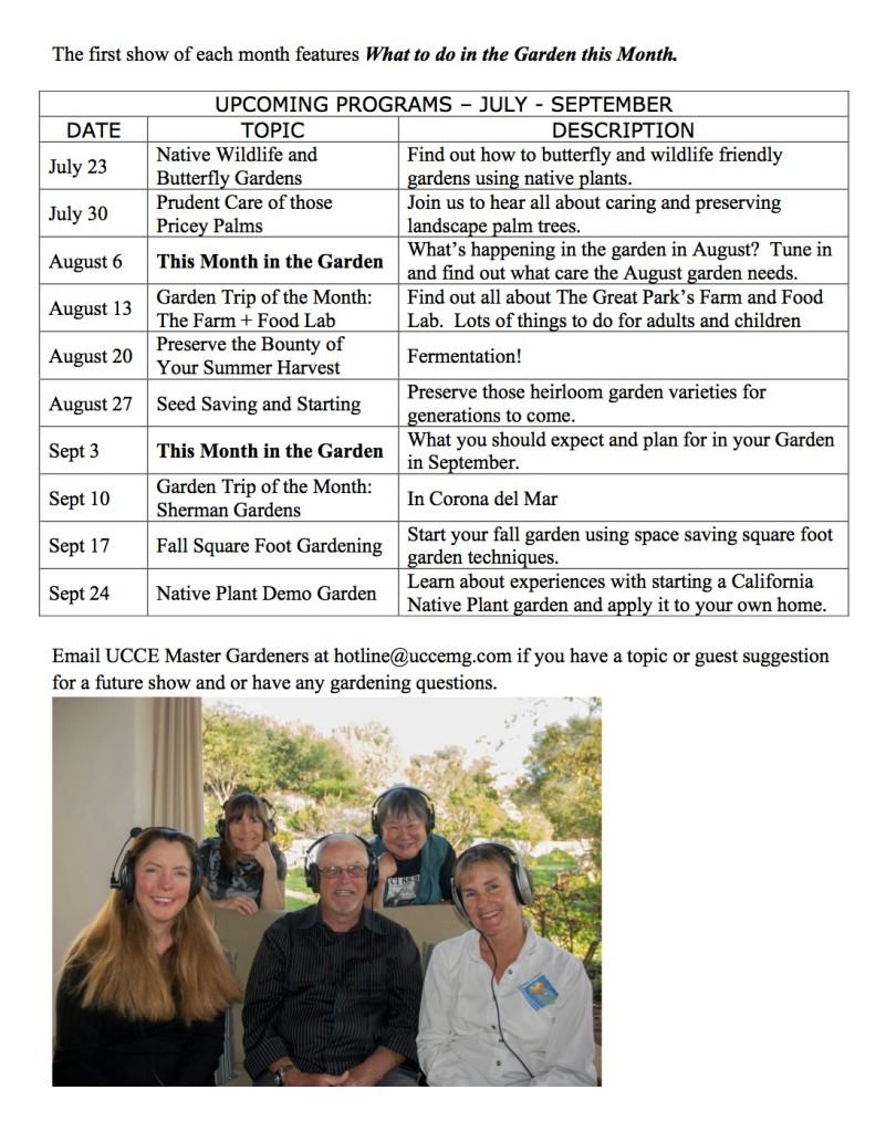 In the Garden show schedule