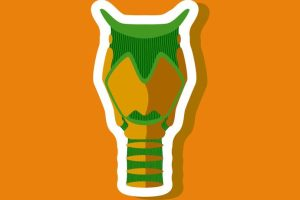 larynx paper sticker on stylish background