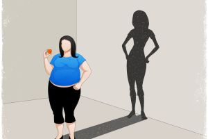 fat woman casting slim woman shadow in vector