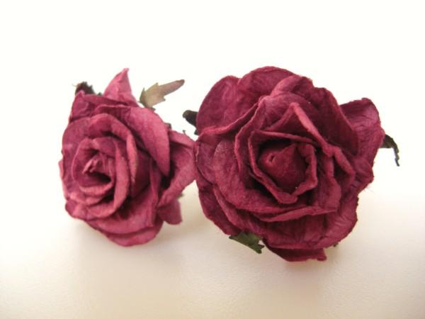 Red Rose Bridal Hair Flowers