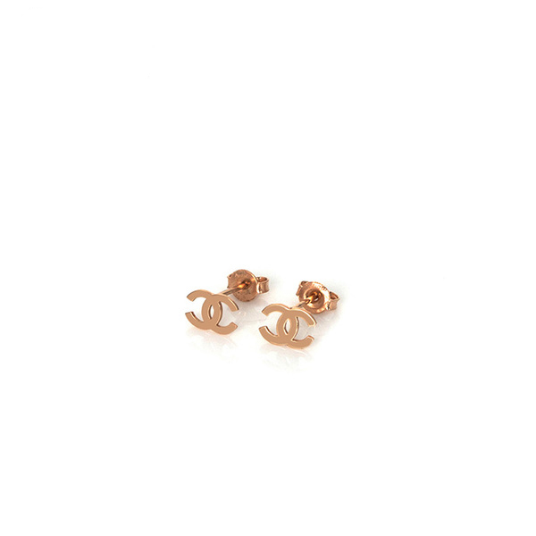 Channel Earring Anting Emas Perhiasan Jewelry Rose Gold