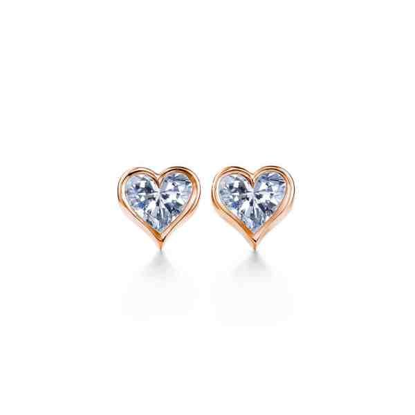 Perhiasan emas berlian white gold 18K diamond gemstone earring Heart to Heart