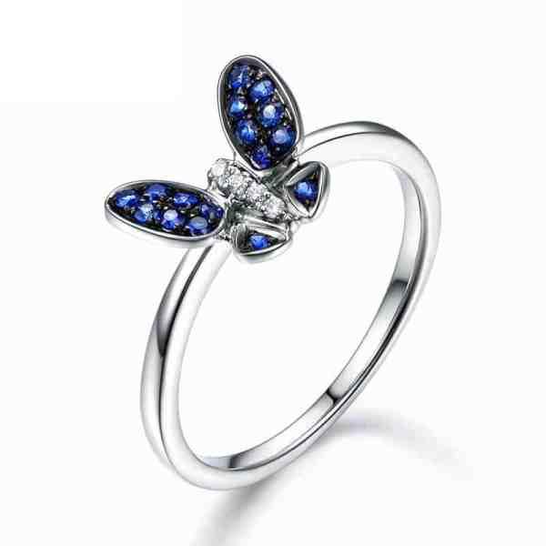 Tiaria 18K Deep Blue Sapphire Butterfly Ring Cincin Emas