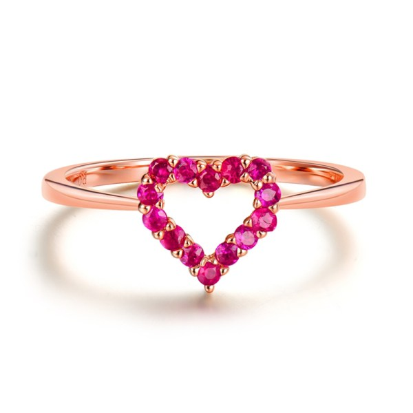 Tiaria 18K Rose Gold Ruby Ring Aksesoris Cincin Emas