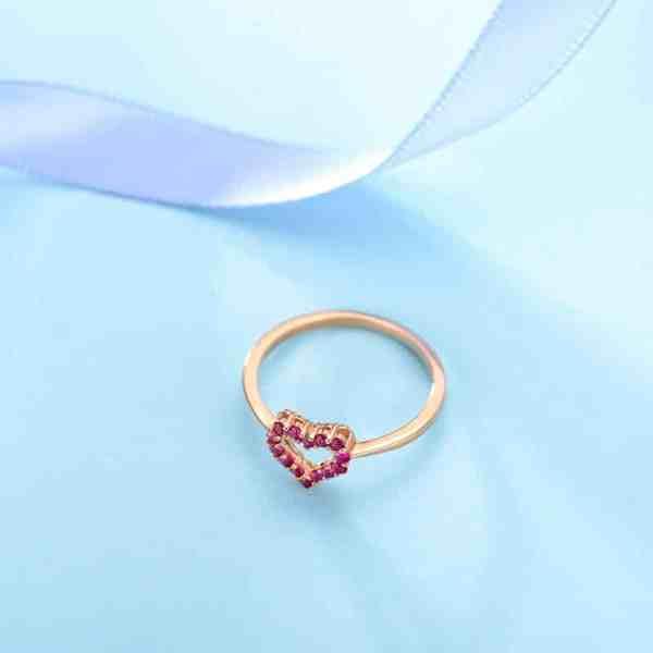 Tiaria 18K Rose Gold Ruby Ring Aksesoris Cincin Emas 6