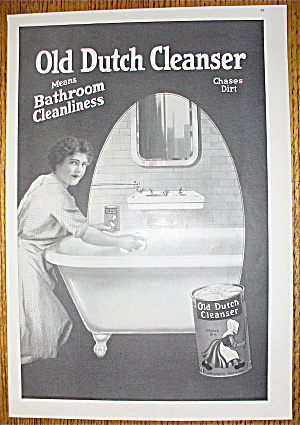 1914 Old Dutch Cleanser With Woman Cleaning Bathtub Soap