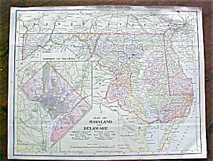 Antique Map Maryland Delaware Virginia West Virginia (Paper and ...